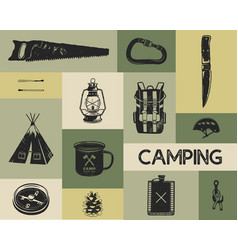 camping icons set in silhouette retro style vector image