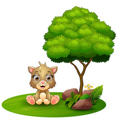 cartoon cat sitting under a tree on a white backgr vector image