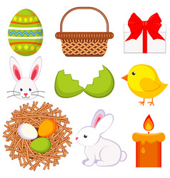 cartoon easter icon set 9 elements vector image