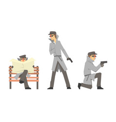 Cartoon private detective character doing daily vector
