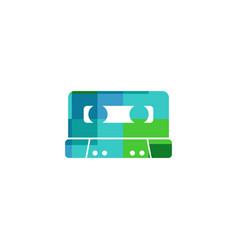 cassette tape music logo icon design vector image