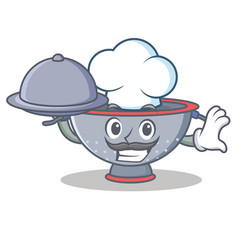 Chef with food colander utensil character cartoon vector