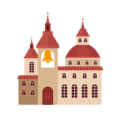 Chirch building flat colorful icon vector