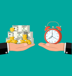 clock and money on hand scales vector image