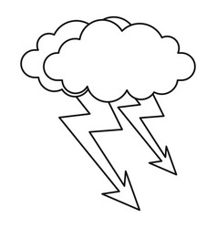 Cloud lightning icon outline style vector