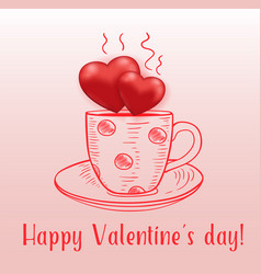 coffee cup with red hearts vector image