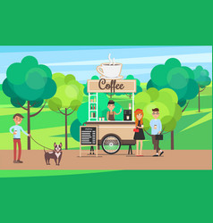 coffee stand in green park vector image