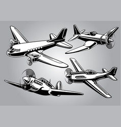 collection world war 2 military aircraft vector image