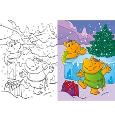 Coloring Book Of Trolls Got Christmas Gift vector