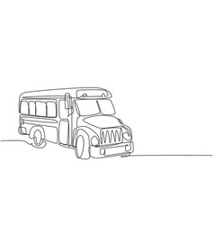 continuous one line drawing old classic school vector image