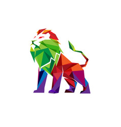 Creative abstract colorful lion logo vector