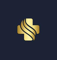 cross medic wave gold logo vector image