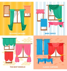 Curtains For Windows 2x2 Design Concept vector