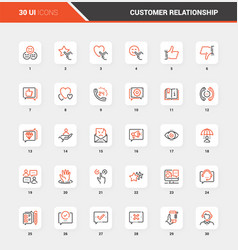 customer relationship management flat line icons vector image