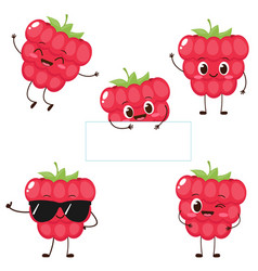 Cute happy red raspberry character set vector