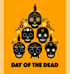 Day dead dia de los muertos banner vector