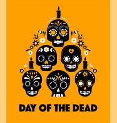 Day dead dia de los muertos banner with vector