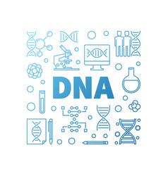 dna square blue modern outline vector image