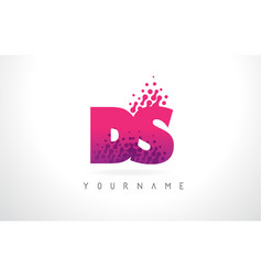 Ds d s letter logo with pink purple color and vector