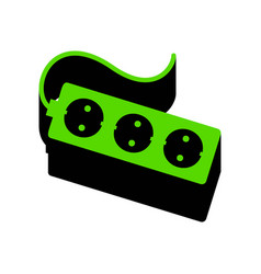 Electric extension plug sign green 3d vector
