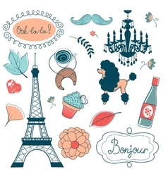 Elegant set with Eiffel tower flowers birds vector image