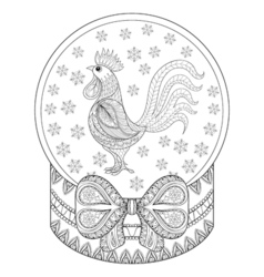 entangle christmas snow globe with rooster vector image