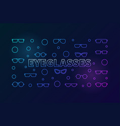 Eyeglasses colored horizontal line vector