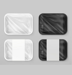 Food polystyrene packaging white and black 3d vector