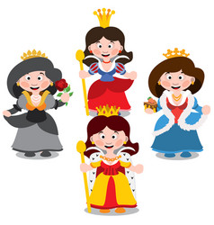 four queen cartoon characters vector image
