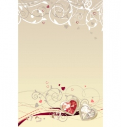 frame with gold hearts vector image vector image