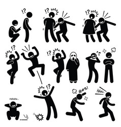 Funny people prank playful actions stick figure vector