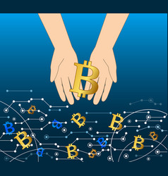 getting money from virtual flow business bitcoin vector image
