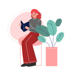 girl sitting on a chair and reading a book female vector image
