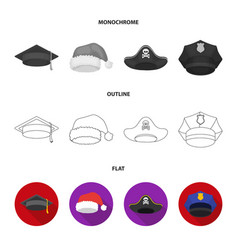 Graduate santa police pirate hats set vector
