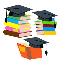 graduation cap on top of a stack of books vector image