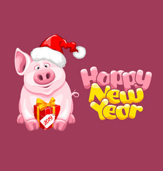 greeting new year design with cartoon piggy vector image