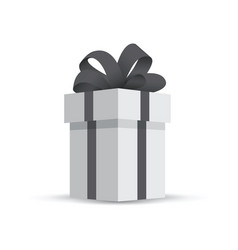 grey gift box isolated on white background vector image