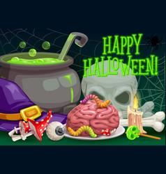 Halloween witch hat spider skull zombie brain vector