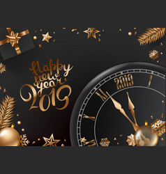 happy new year composition top view christmas box vector image