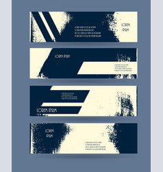 Header set creative banner grunge design vector