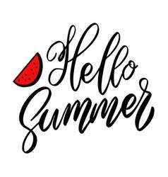 hello summer lettering phrase on white background vector image