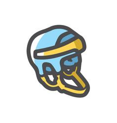 hockey helmet player icon cartoon vector image
