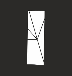 I white alphabet letter isolated on black vector