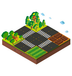 Isometric intersection scene with farming crops vector