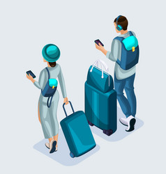 isometric young girl and man at the airport vector image