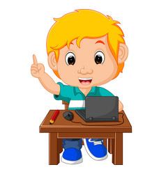 Kid boy using the computer cartoon vector