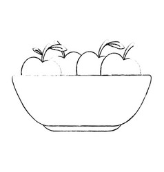 Kitchen plastic bowl with apples vector