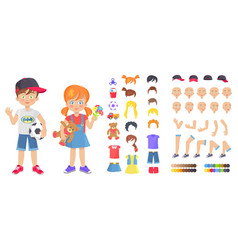 Little boy and girl with childish toys constructor vector