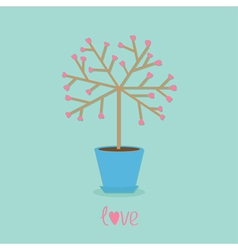 Love tree in the pot Heart flower Word love Blue vector