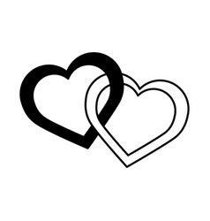 Love two hearts entwined romantic passion emotions vector